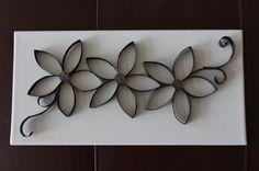 Toilet Paper Art Flowers on Canvas Board