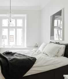 It's no secret I love Swedish interior design, & this two bedroom apartment in Gothenburg is a classic example. Understated, slightly industrial style, minimal but comfortable eclectic furnishings, wood flooring & of course the classic neutral palette … ( Bedroom Apartment, Home Bedroom, Apartment Living, Bedroom Decor, Brick Bedroom, Apartment Entrance, Gray Bedroom, Master Bedroom, Tranquil Bedroom