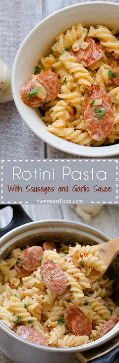 Rotini Pasta With Sausages and Garlic Sauce - I am sure you will love this easy, delicious rotini pasta with sausages and garlic sauce, which is my favorite!