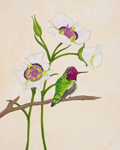 Anna's Hummingbird Bird Art Botanical Print Little by SummerHour, $28.00