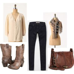 can't go wrong with oversized blouse, skinnies boots and a statement scarf