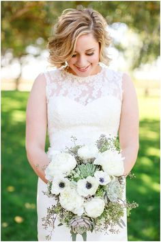 We LOVE our Grayce brides - especially ladies like this who have fabulous tastes! Succulents & neutral bouquet! [All florals are original work by Grayce Floral & Events in Lubbock, Texas] Photo by: Allee J