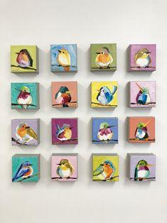 Small Canvas Paintings, Small Canvas Art, Mini Canvas Art, Small Paintings, Animal Paintings, Indian Paintings, Bird Painting Acrylic, Watercolor Bird, Acrylic Art