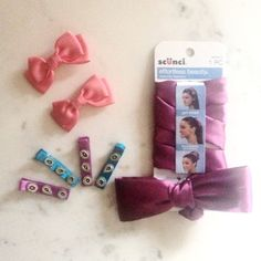 Hair Accessory Bundle Brand new purple satin wire lined headband bow, 2x coral colored clip bows, and 4x satin jeweled hair clips. Accessories Hair Accessories