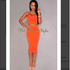 Final price  Hot Miami styles orange crop set Amazing! Hot Miami Styles Dresses