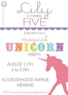 Printable Rainbow Unicorn Birthday Party by PrintYourHeartOut. $10.50 USD, via Etsy.