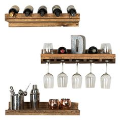 Wine aficionados will appreciate the versatility of the Del Hutson Rustic Luxe Tiered Wall Mount Wine Racks - Set of 3 , featuring three durable. Wall Bar Shelf, Wall Shelves, Wood And Metal, Metal Walls, Wine Glass Rack, Wine Racks, Rustic Luxe, Bottle Rack, Mesas