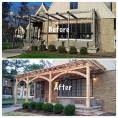 timber frame pergola from western timber frame replaces a dimensional lumber pergola