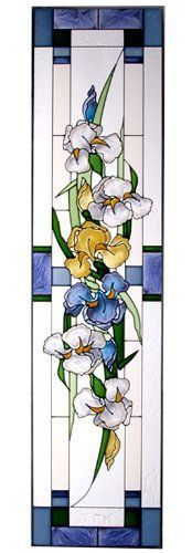 """Irises Blue Vertical Art Glass Panel Wall Hanging Suncatcher 42 x 10 by e-earth-exchange. $84.95. Hooks are included for immediate placement. Painted Tempered Glass MADE IN THE USA!!. **  ** SHIPS UPS - Order BY DECEMBER 13 for CHRISTMAS DELIVERY **  **. 10.25""""W x 42""""H. Ships within 5 business days. Our garden of blue irises, each meticulously hand-painted on art glass, is a stunning sight to behold!  Zinc-framed, this impressive vertical piece measures 10.25"""" ..."""