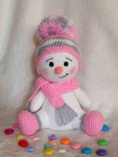 Baby Knitting Patterns Christmas Snowman worked in pink, gray and white. Baby Knitting Patterns, Crochet Animal Patterns, Crochet Patterns Amigurumi, Crochet Dolls, Crochet Snowman, Christmas Crochet Patterns, Holiday Crochet, Crochet Crafts, Crochet Projects