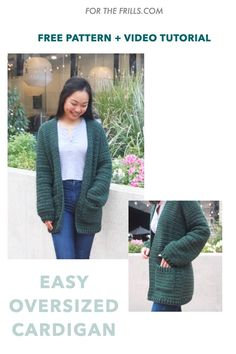 Knit Cardigan Pattern, Crochet Beanie Pattern, Crochet Coat, Easy Crochet, Free Crochet, Crochet Clothes, Learn To Crochet, Crochet Cardigan Pattern Free Women, Tutorial Crochet