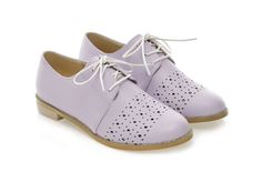 British Style Women's Flat Shoes With Openwork and Solid Color Design (LIGHT PURPLE,39) | Sammydress.com