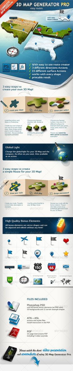 3D Map Generator Pro – Easy Routes  Actions for Adobe Photoshop CS2 , CS3, CS4 , CS5 and higher. $6
