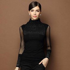 ca972e4da86 M 3XL Sexy Lace Tops Autumn 2016 blusas new Slim Plus size lace blouse long  sleeve Casual shirt beaded openwork Women clothing-in Blouses   Shirts from  ...