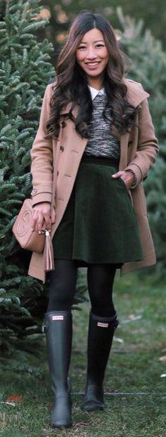 #winter #fashion / Beige Coat / Green Skirt / Grey Knit / Black Tights / Green Boots