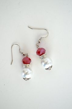 Red and White Crystal and Pearl Earrings by Debbie by DebbieRenee, $14.00