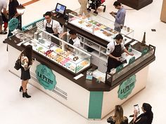Mall Design, Kiosk Design, Macarons, Salad Bar Restaurants, Buffets, Brasil Kirin, Bubble Cat, Bussines Ideas, Mochi Ice Cream
