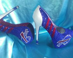 Custom Buffalo Bills Glitter Heels- for my sister!