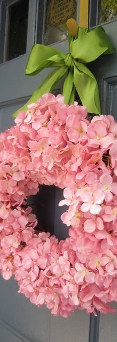 Spring Wreath - pink hydrangea with green ribbon (could use blue/lavender hydragea also) Hortensia Hydrangea, Hydrangea Wreath, Pink Hydrangea, Floral Wreath, Fake Hydrangeas, Green Wreath, Pink Flowers, Wreath Crafts, Diy Wreath