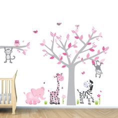 Girl Jungle Wall Decal, Nursery Wall Decals, Monkey,Pink, Gray, Zebra Stickers (Custom Choices). $84.99, via Etsy.