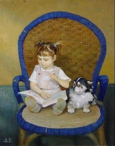 children in art history Girl Reading Book, I Love Reading, Kids Reading, Russian Painting, Russian Art, Painting Art, Book People, Animals For Kids, Hyperrealism