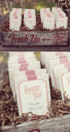 Sweet Tea packets as Table assignments