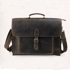 """Image of Business Travel Bag Distressed Leather Bag 15.6"""" Computer Bag Large Volume Father's Day Gift"""