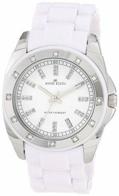 Anne Klein Women's 109179WTWT Silver-Tone Swarovski Crystal Accented White Plastic Watch.