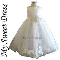 White Petal Dress Size 2~12 - Flower Girl, First Communion, Party