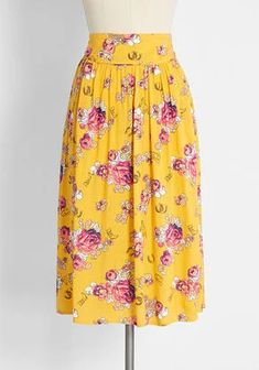 New Arrival Dresses and Clothing for Women | ModCloth New Arrival Dress, Swing Skirt, Yellow Background, Cute Skirts, Modcloth, Cowboy Hats, Midi Skirt, High Waisted Skirt, Floral Prints
