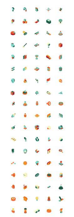 Isometric icons on Behance