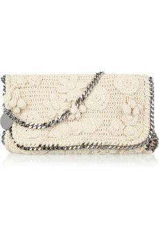 Chain-trimmed crocheted-cotton shoulder bag