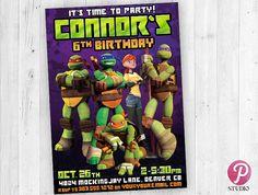 TMNT Teenage Mutant Ninja Turtles Birthday by prettypixelstudio Ninja Turtle Invitations, Ninja Turtle Birthday, Teenage Mutant Ninja Turtles, Tmnt, Baseball Cards, Ninja Turtles