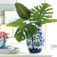 tropical decor home caribbean Tropical House Design, Tropical Home Decor, Tropical Interior, Tropical Houses, Blue And White Vase, White Vases, Blue Vases, Tropical Furniture, Estilo Tropical