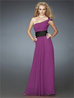 One Shoulder Strapless With Black Blet Chiffon Prom Dress PD10742