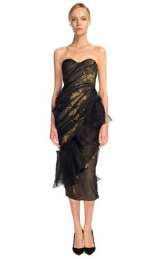 Marchesa Strapless Gauze Cocktail Dress $8950