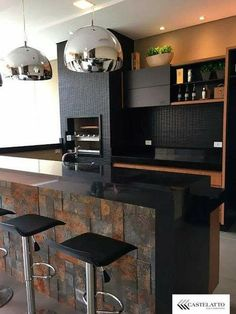 Kitchen island ideas for inspiration on creating your own dream kitchen. diy painted small kitchen design - with seating and lighting Diy Kitchen Decor, Cute Kitchen, Kitchen Tiles, Kitchen Flooring, Rustic Kitchen, New Kitchen, Interior Design Living Room, Kitchen Design, Black Countertops