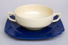 Vintage HLCo Pottery Cream Soup Bowl in Original Ivory Glaze Cream Soup, Antique China, Glaze, Tea Cups, Ivory, Pottery, Antiques, Tableware, Vintage