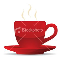 Red Coffee Cup and Saucer Royalty Free Stock Vector Art Illustration