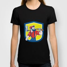LumberJack Holding Axe Shield Cartoon T-shirt
