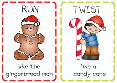Printable action cards - These are great for my kindergarteners to get the wiggle and jiggles out during the month of December!