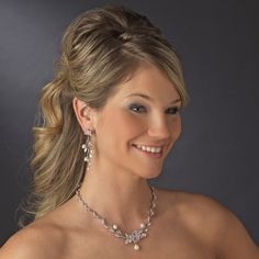 perfect for Spring - this floral Pearl and CZ Wedding jewelry set! affordableelegancebridal.com