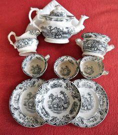 Staffordshire  black transferware Childs Tea Set Benjamin Godwin c1835
