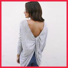 Casual Women T-Shirts Long Sleeves Sexy Backless Blusas Mujer De Moda Tee Yops Women Clothing WS3758M