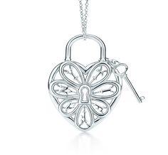 Tiffany & Co. | Item | Tiffany Filigree Heart pendant with key in sterling silver, medium. | United States
