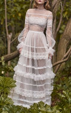 Neo-Romantic Tiered Long Dress by COSTARELLOS BRIDAL for Preorder on Moda Operandi