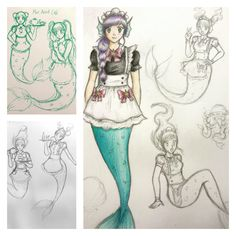 Had a crazy idea for a new tshirt design - a 'Mer-Maid' Cafe based under the sea. Here are a few of the initial sketches. #anime #manga #mermaid #animegirl #drawing #cute #maid