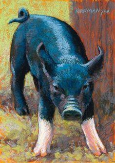 "Daily Paintworks - Rita Kirkman, Pastel, 7 x 5 inches, ""Socks"" Animal Painter, Animal Paintings, Farm Animals, Cute Animals, Sheep Pig, Pig Crafts, Farm Art, Pastel Art, Wildlife Art"