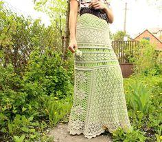 Summer maxi skirt beige long crochet skirt for summer crochet knitted from 100%…