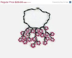 ON SALE Pink Oya Flowers Crochet  Necklace, Dangling Flower pendant knitted neklace, Boho Chic Spring summer Statement Jewelry